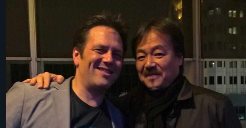 Глава Xbox Фил Спенсер вместе с Хиронобу Сакагути
