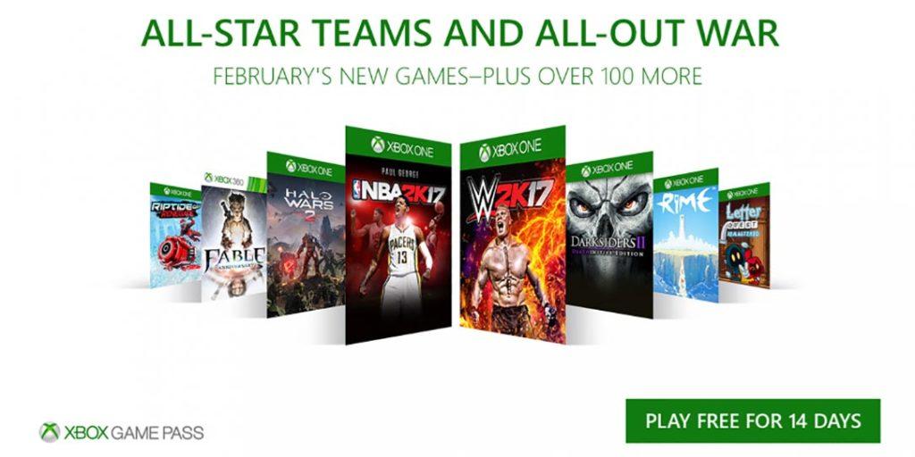 Xbox Game Pass февраль 2018