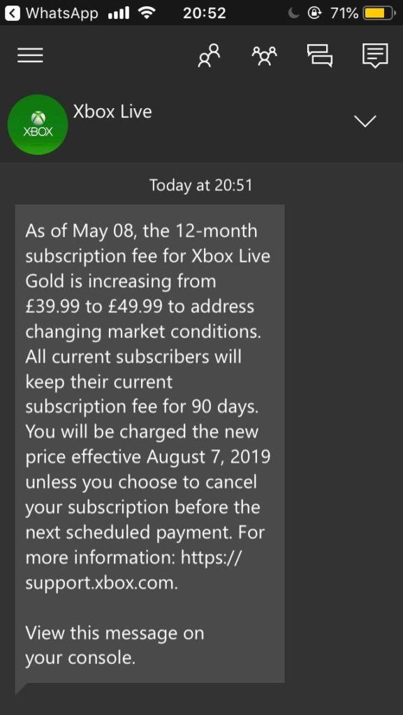 Пользователи Xbox стали получать уведомления о повышении стоимости Xbox Live Gold