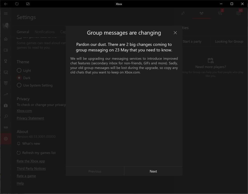 Используйте приложение Xbox на iOS Android для обновлённых групповых сообщений