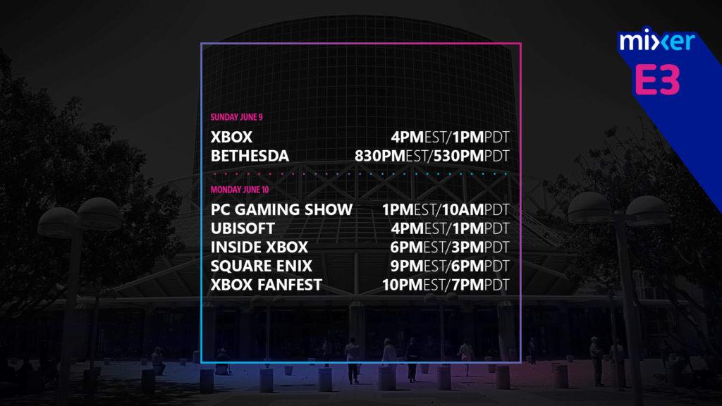 Расписание контента  Mixer E3 2019
