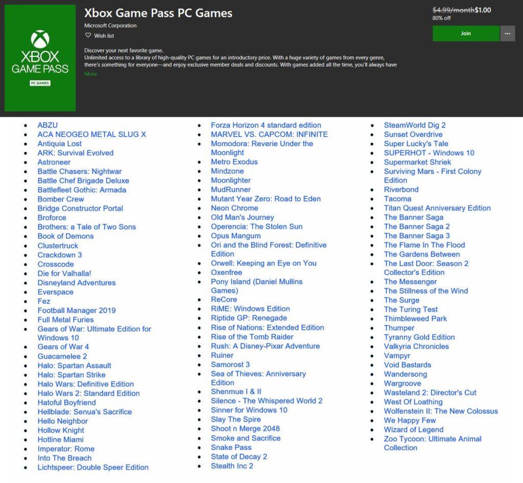 Полный список игр Xbox Game Pass для PC на старте в июне 2019 года