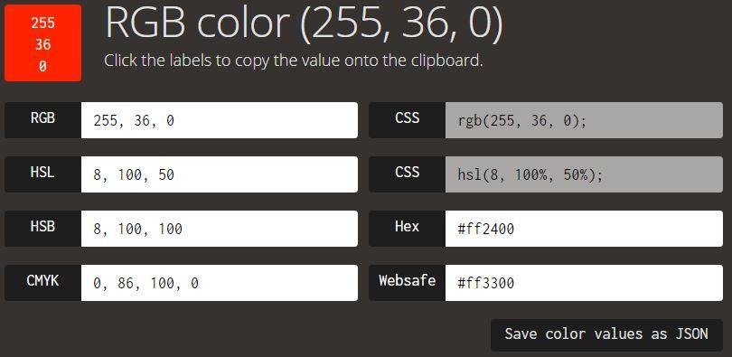 RGB 255 36 0