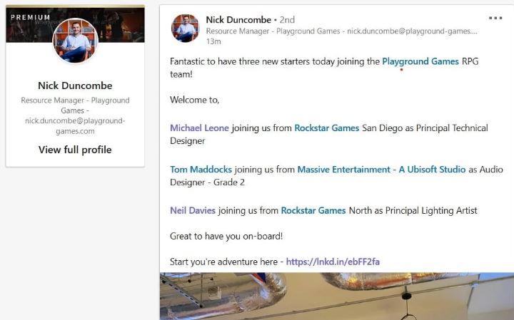 Согласно недавно обновлённой информации на LinkedIn, к команде Playground присоединились Нил Дэвис (Neil Davies), Майкл Леоне (Michael Leone) и Том Мэддокс (Tom Maddocks)