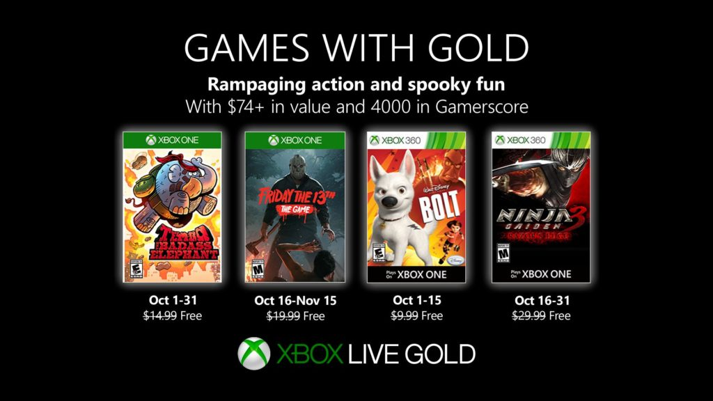 Xbox Live Gold октбярь 2019 года