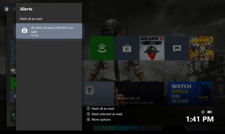 Октябрьское обновление Xbox One расширяет функцию уведомлений, предупреждающими пользователей, когда товар в вашем списке желаний по