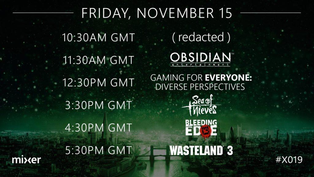 Расписание официальных трансляций на канале Xbox в Mixer X019