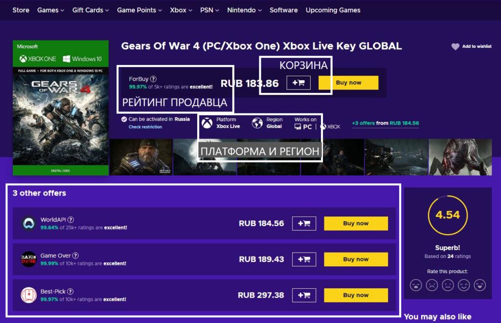 Цены Eneba.com для Xbox с пересчётом в рубли
