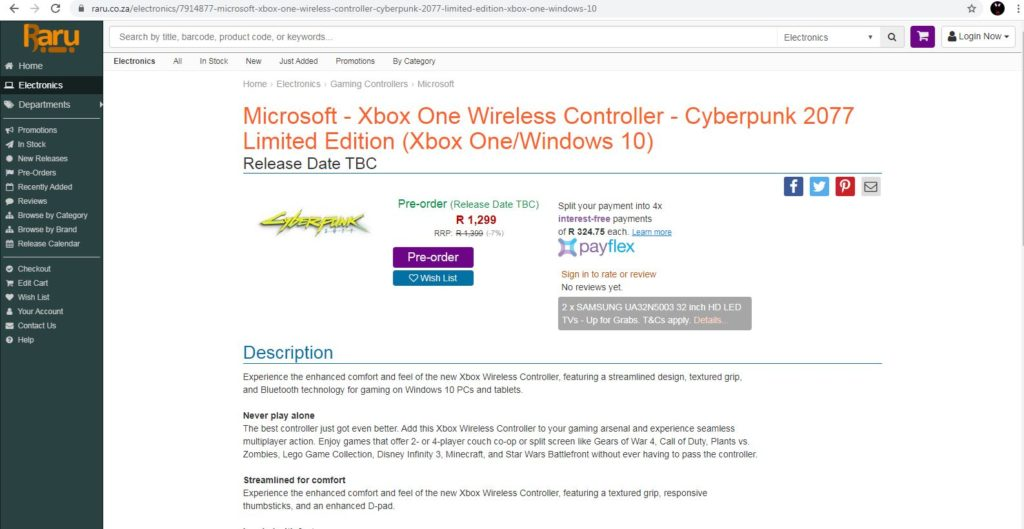 На сайте розничного продавца появился беспроводной контроллер Xbox One ограниченной серии Cyberpunk 2077