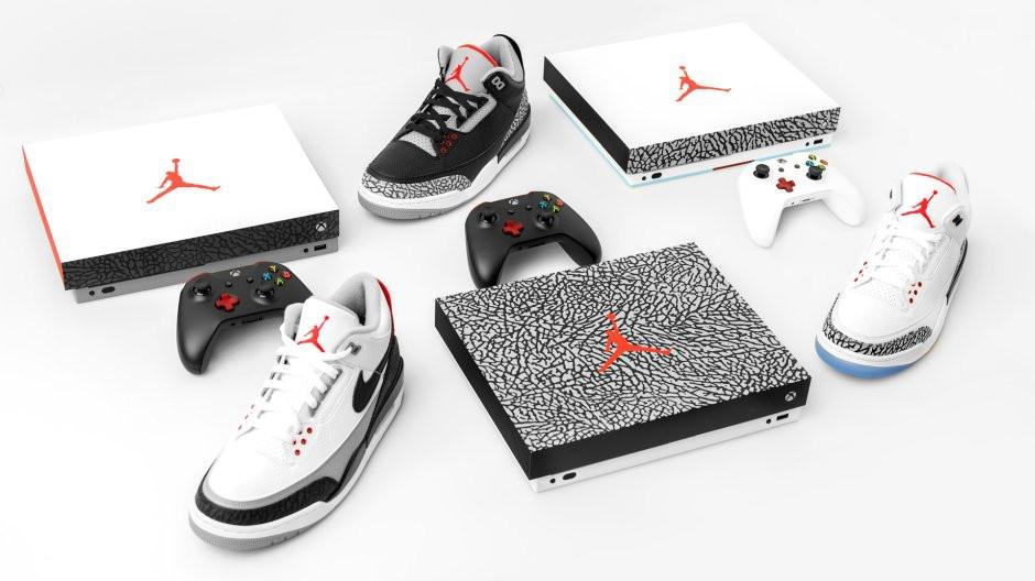 три консоли Xbox One X в стиле Air Jordan 3