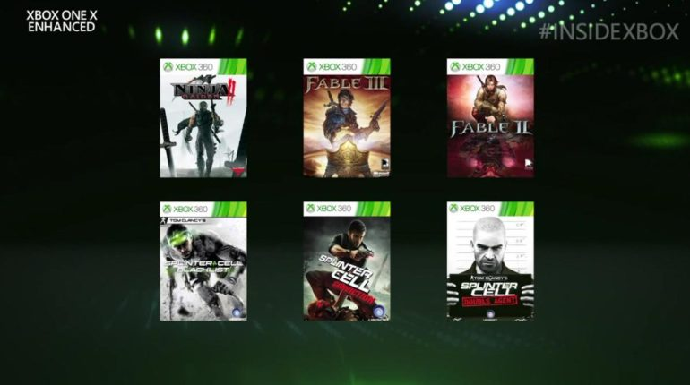 Xbox One X Enhanced Ninja Gaiden II, Fable II, Fable III, Splinter Cell Blacklist, Splinter Cell Conviction and Splinter Cell Double Agent.