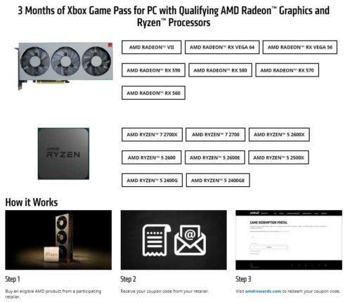 AMD подарит Xbox Game Pass сроком на три месяца при покупке процессора или видеокарты