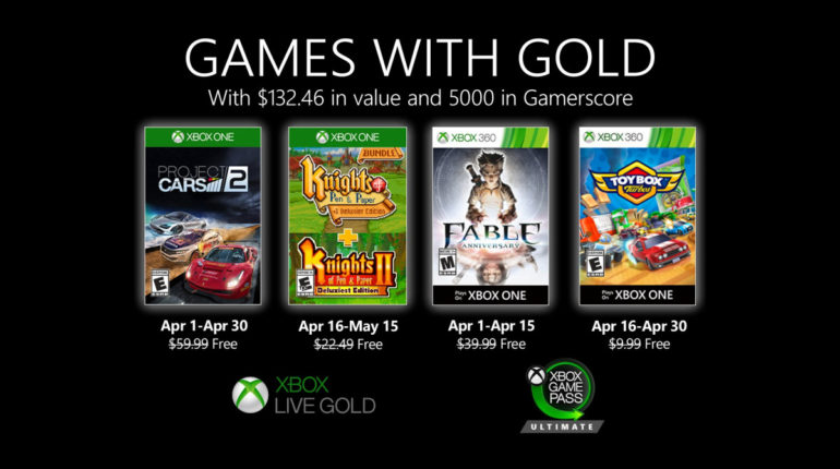Xbox Live Gold апрель 2020 года