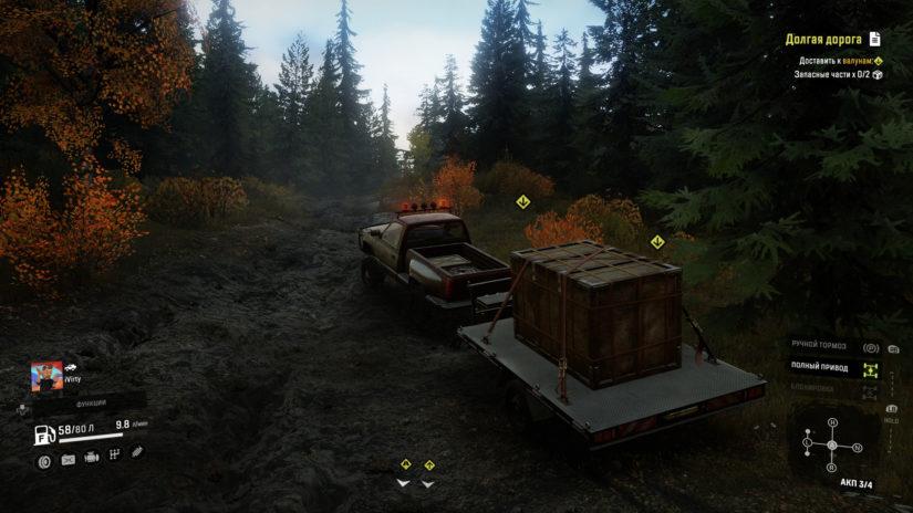 SnowRunner перевозка грузов на пикапе вид сзади