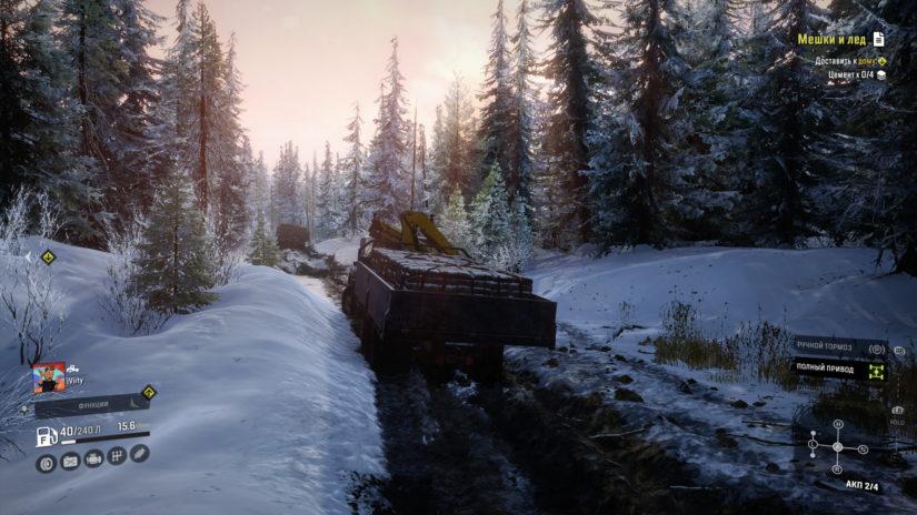 SnowRunner перевозка в бортовом прицепе