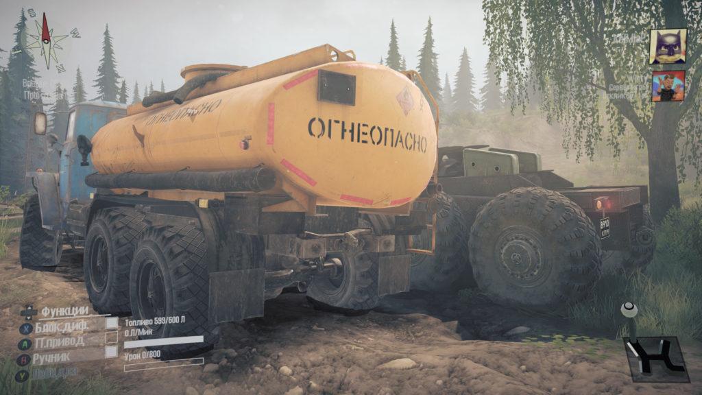 ЗИЛ бензовоз с МАЗом в MudRunner