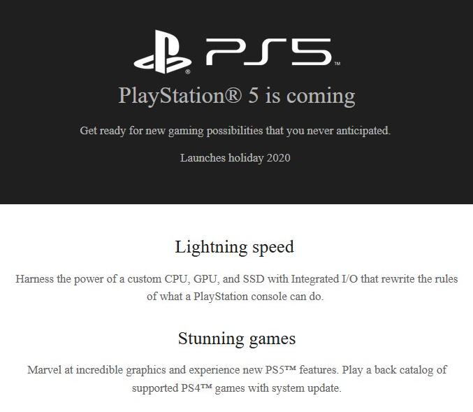 Sony удалила описание обратной совместимости PS4 для PS5