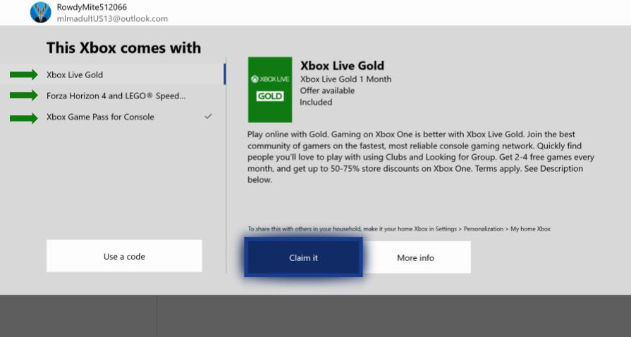 Xbox Digital Direct активация при первом включении консоли, во время настройки