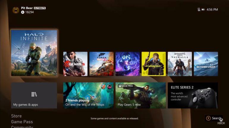 Первые кадры дашборда Xbox Series X