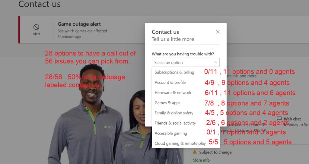 56 вариантов темы обращения, только половина даёт возможность созвониться с агентом Microsoft