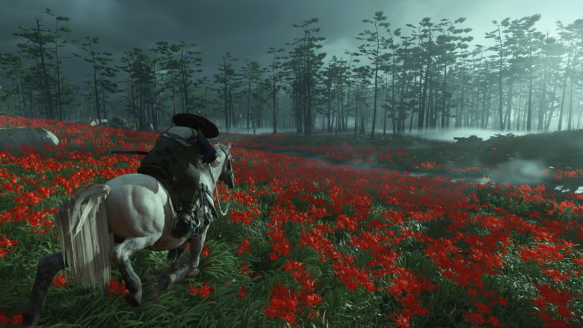Ghost of Tsushima_красные цветы