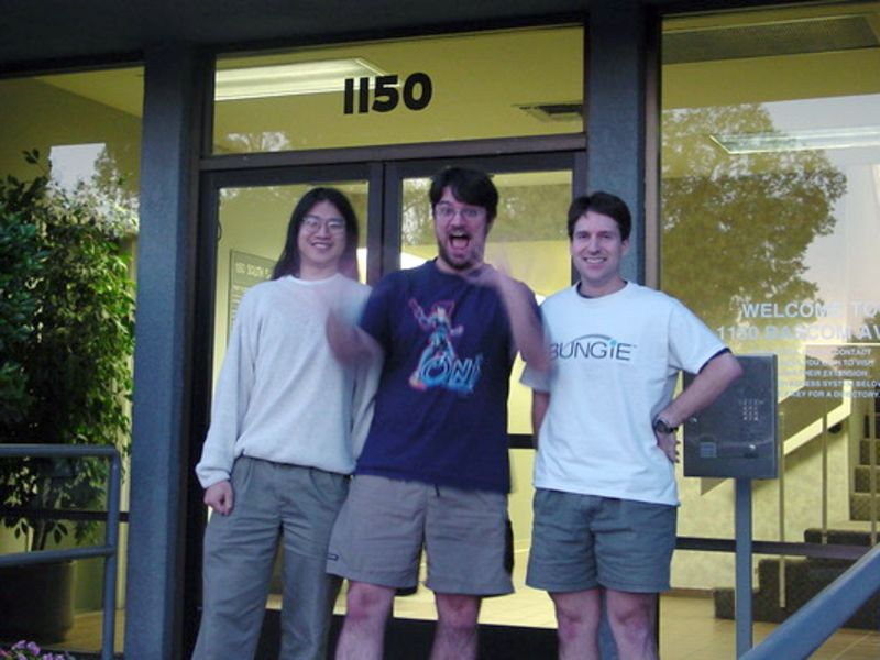 Hamilton Chu, Halo lead producer, from left, Michael Evans, Halo multiplayer lead and CEO Alex Seropian in front of Bungie's office in San Jose, Calif